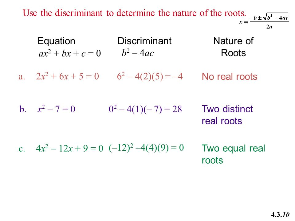 Use The Discriminant To Determine The Nature Of The Roots