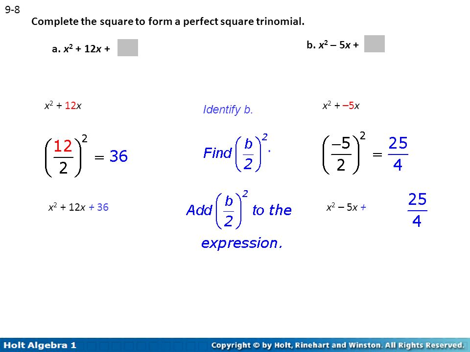 how to solve perfect square trinomial