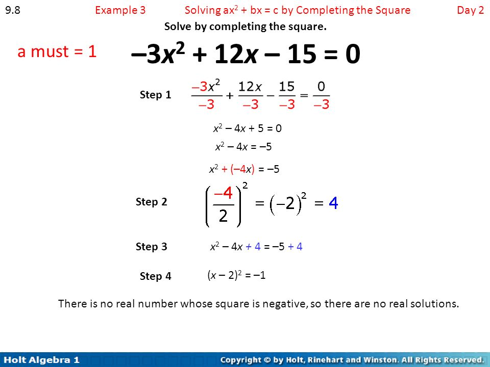 Chapter 9 quadratic functions and equations ppt video online solving ax2 bx c by completing the square day ccuart Choice Image