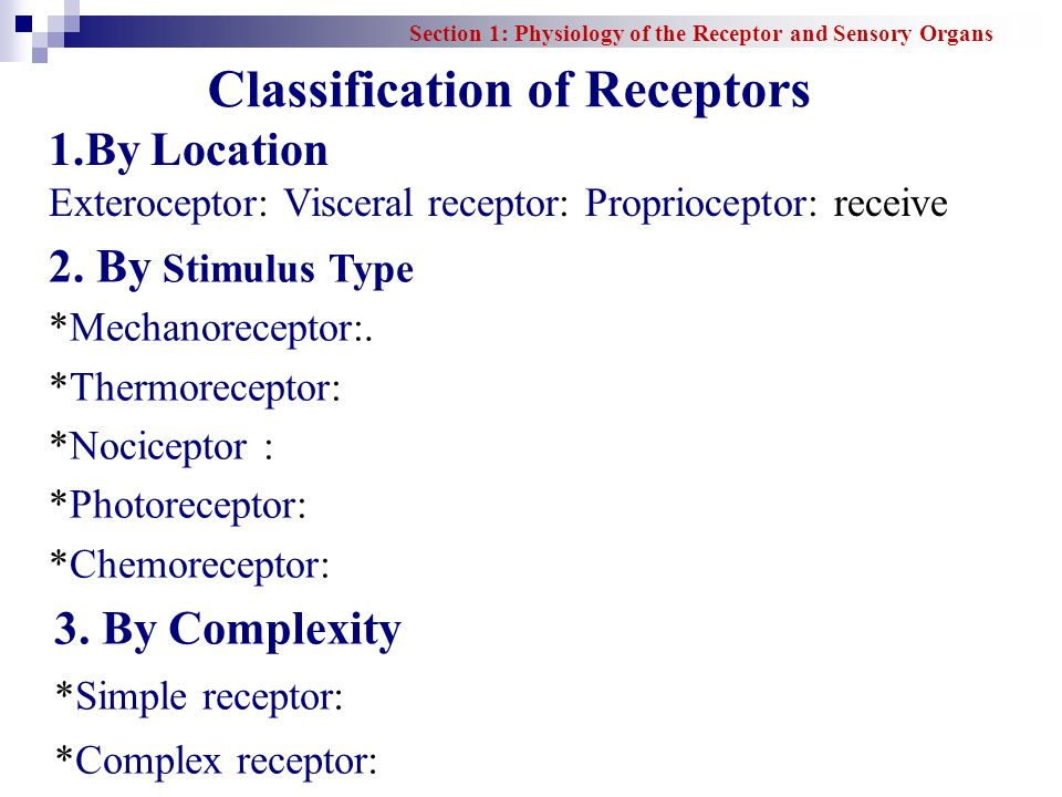 Classification of Receptors