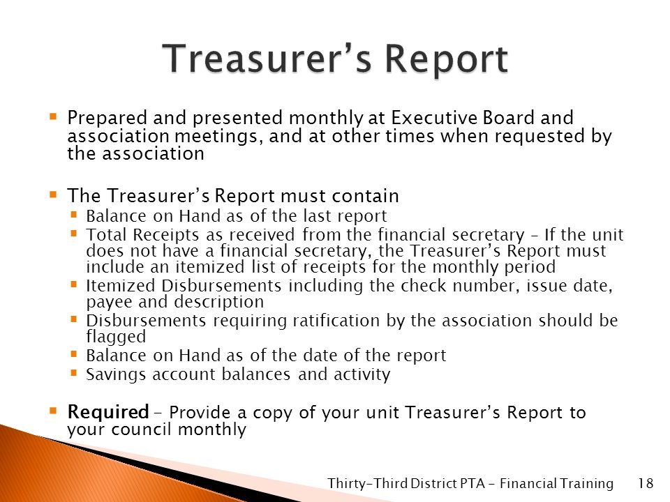 treasurer report excel template