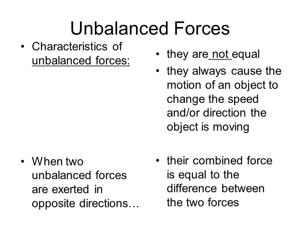 Balanced and unbalanced forces worksheet key