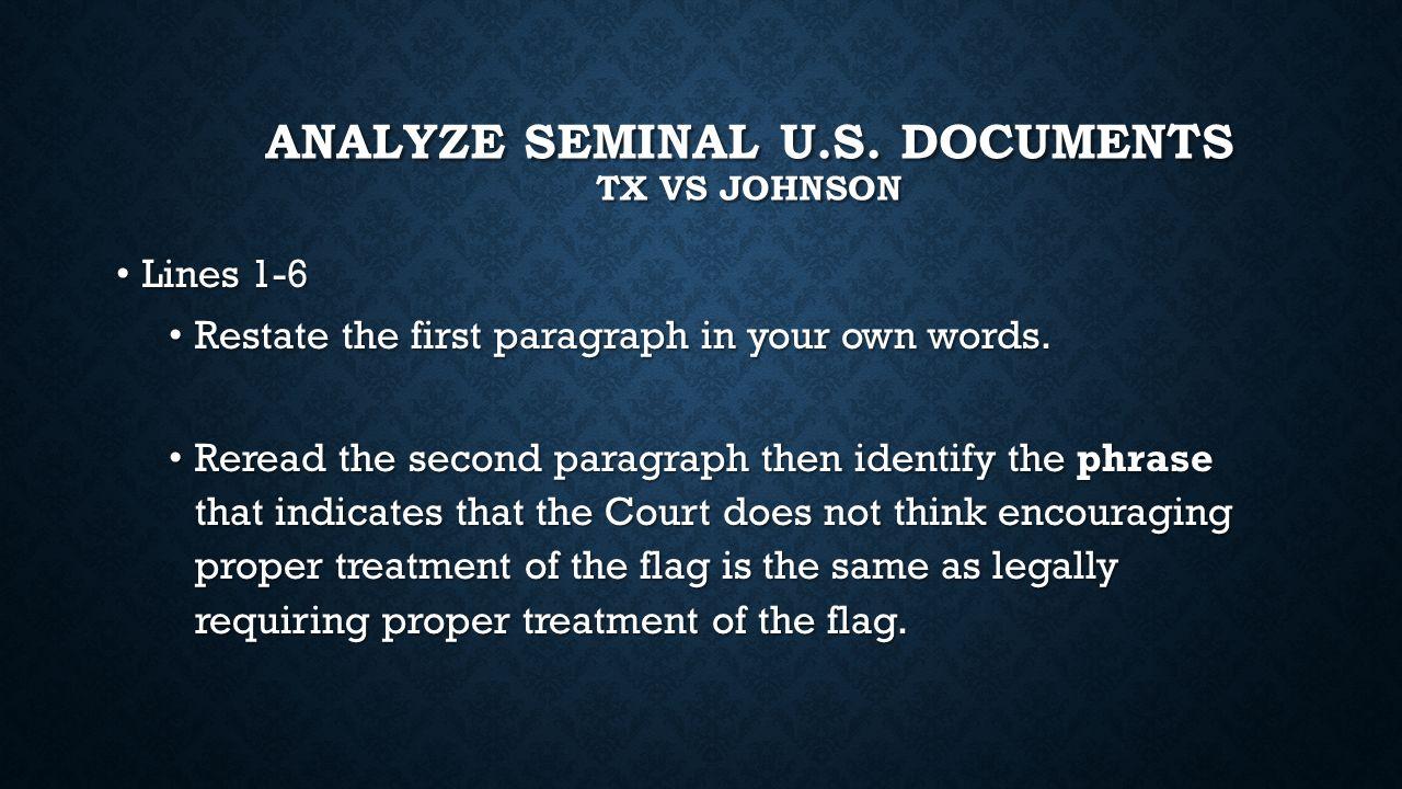 Analyze seminal u.s. documents TX vs Johnson