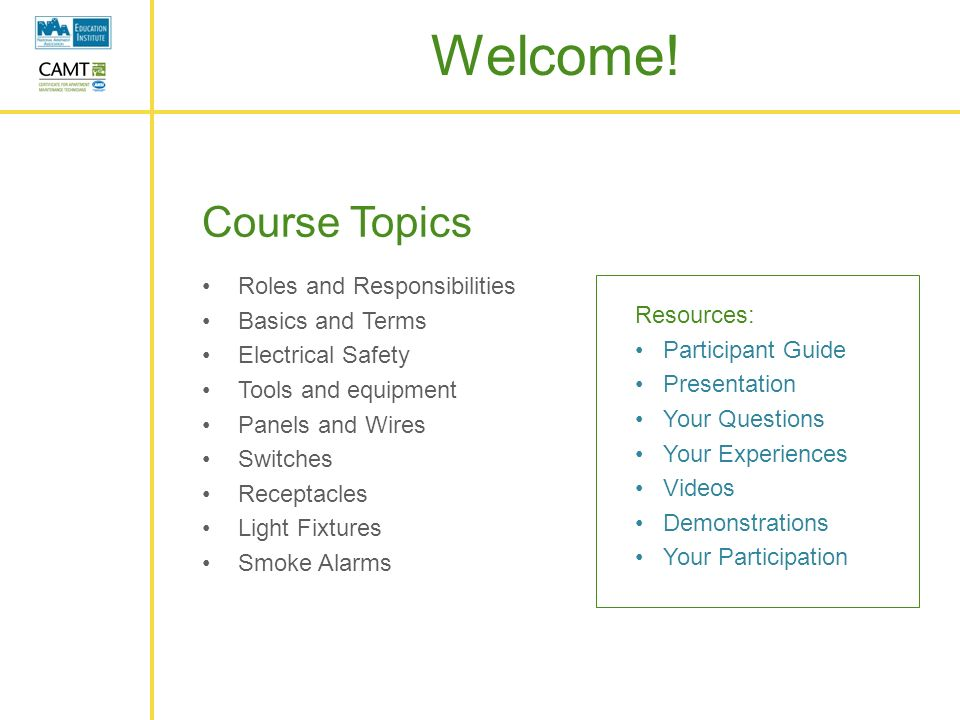 course topics roles and responsibilities basics and terms - Responsibilities Of An Electrician