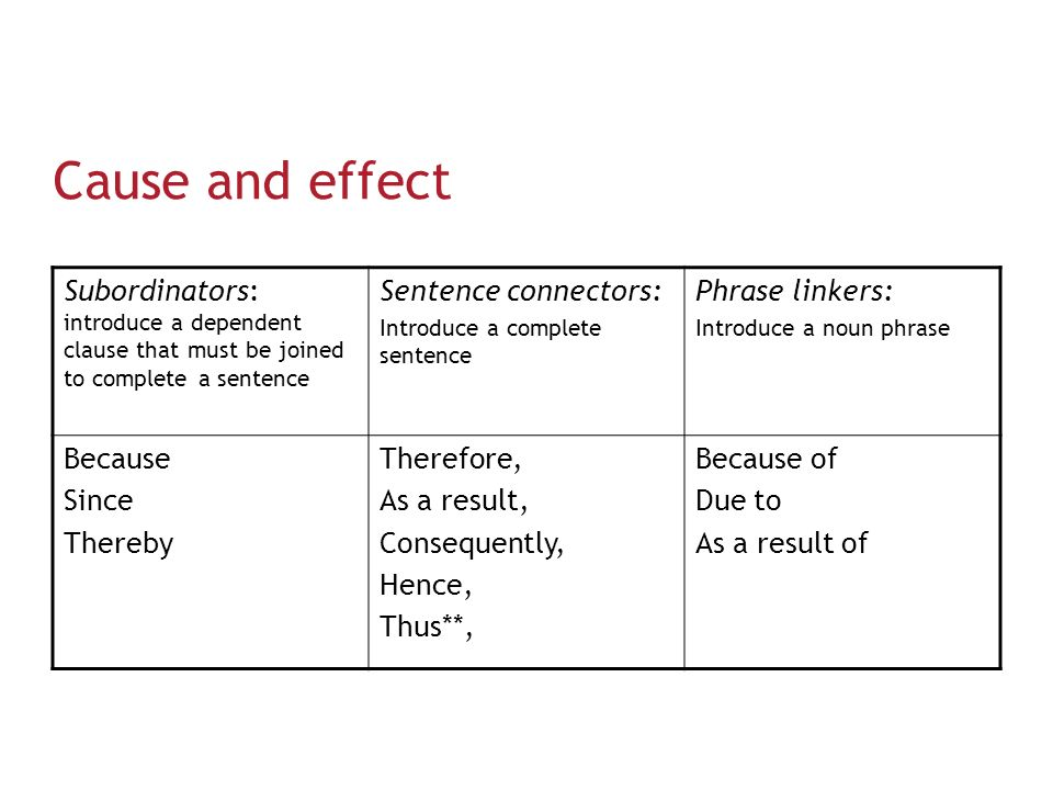 connectors used in cause and effect relationship