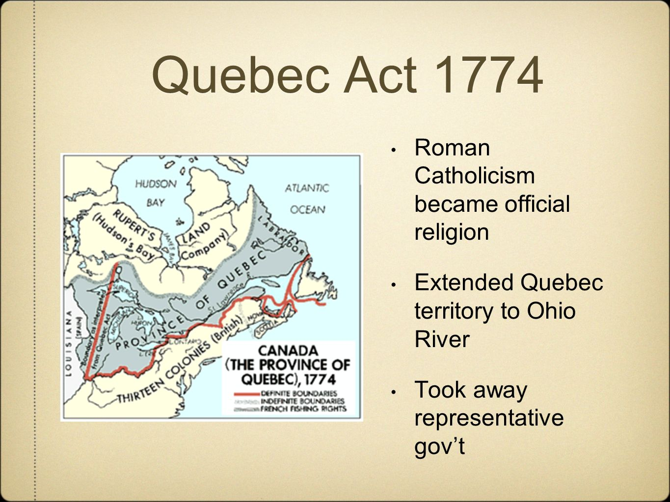 """an interpretation of a quebec act of 1774 The quebec act of 1774, also known as the british north america act of 1774, was a set of """"procedures of governance"""" that was given to quebec at the time it was passed on june 22nd 1774 basically, quebec was given special treatment."""