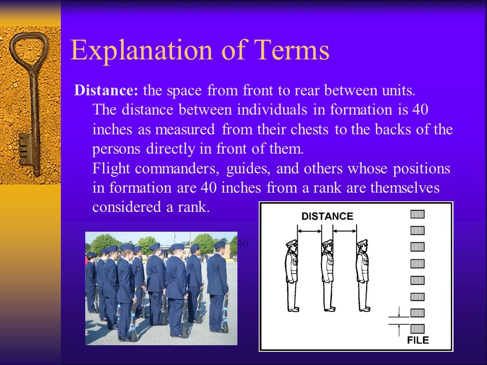 Explanation of Terms Distance: the space from front to rear between units.