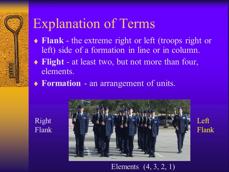 Explanation of Terms Flank - the extreme right or left (troops right or left) side of a formation in line or in column.