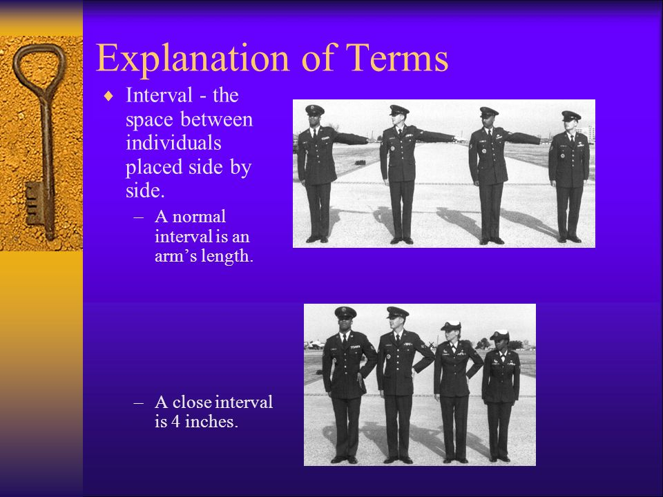 Explanation of Terms Interval - the space between individuals placed side by side. A normal interval is an arm's length.