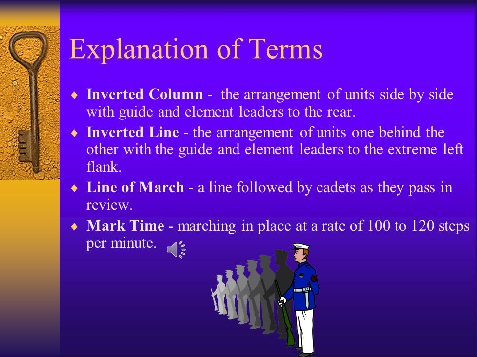 Explanation of Terms Inverted Column - the arrangement of units side by side with guide and element leaders to the rear.