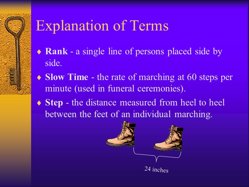 Explanation of Terms Rank - a single line of persons placed side by side.