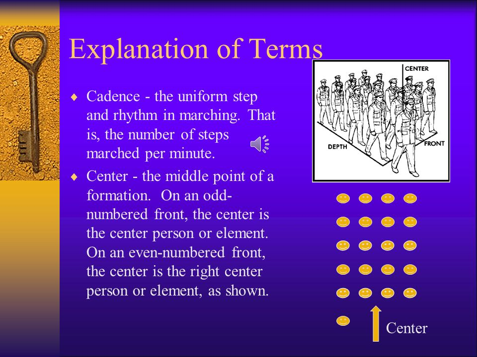 Explanation of Terms Cadence - the uniform step and rhythm in marching. That is, the number of steps marched per minute.