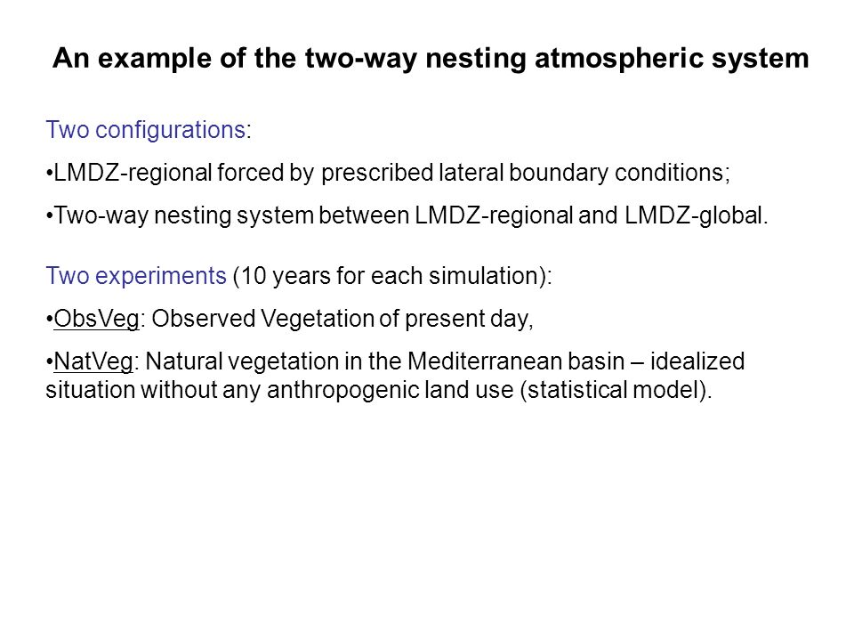 An example of the two-way nesting atmospheric system