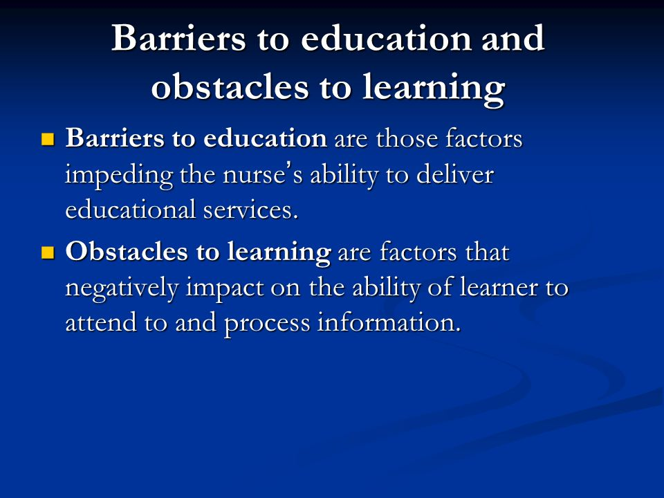 Obstacles in Education