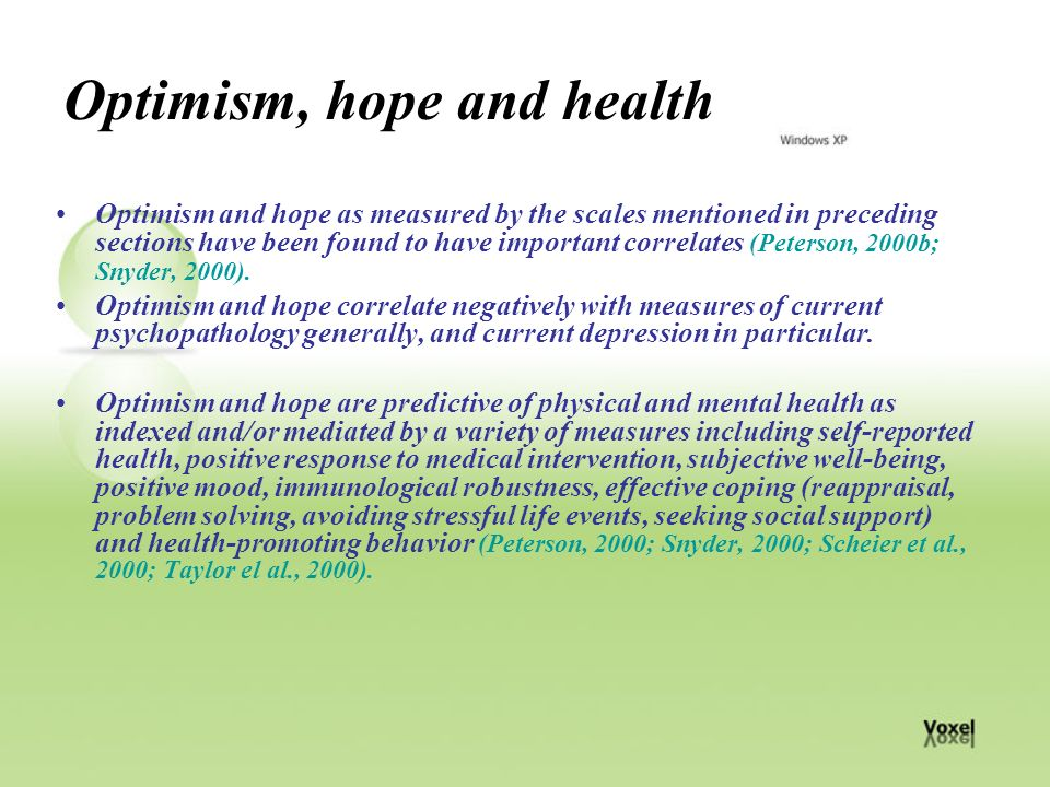 optimism health One way in which optimism may  optimism and healthy behaviours.
