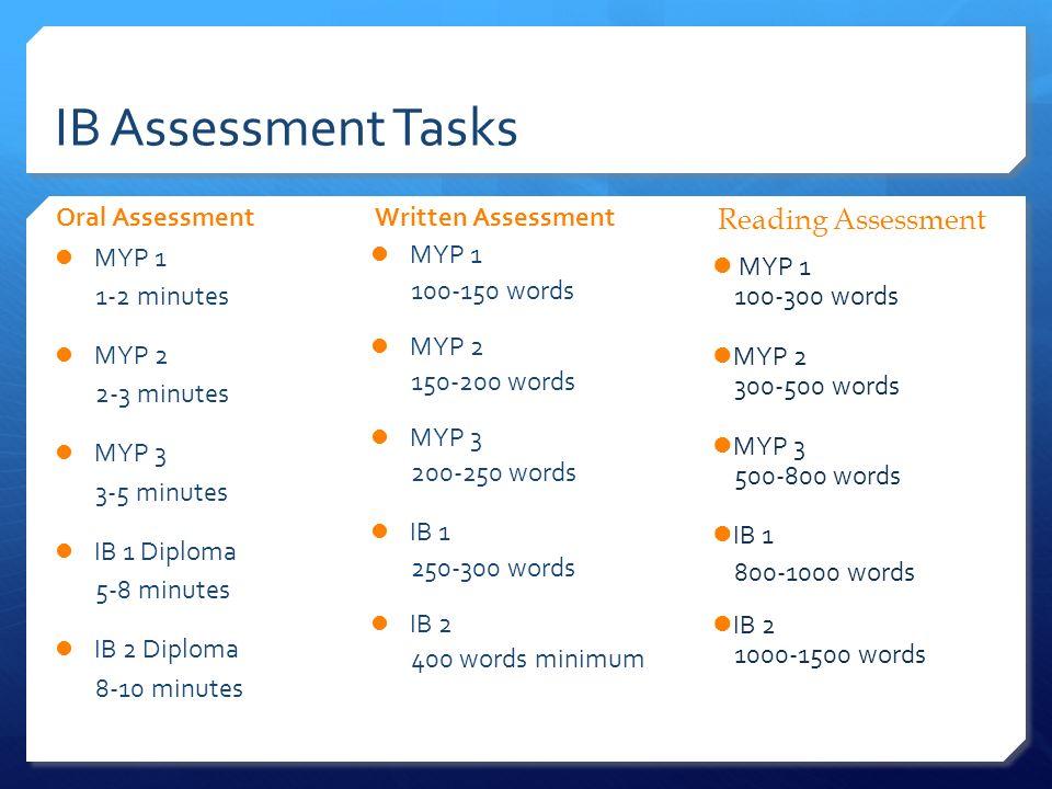 IB Assessment Tasks Reading Assessment Oral Assessment