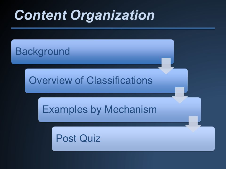Content Organization Background Overview of Classifications