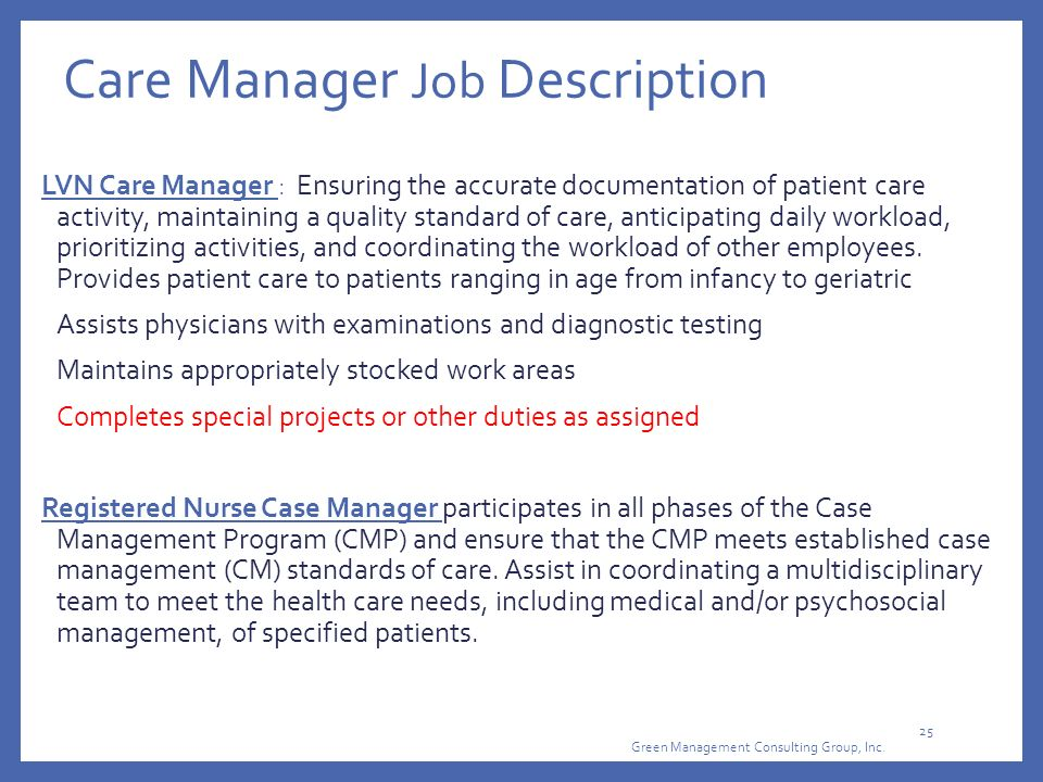 Care Manager Job Description