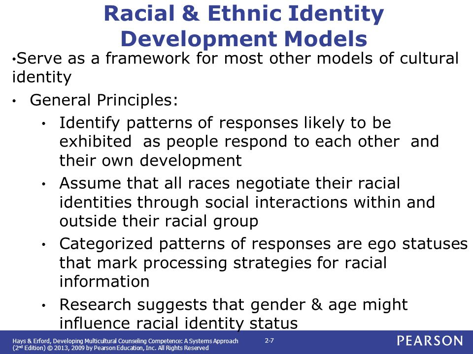 racial cultural identity development The development of one's racial identity has a bearing on the ability of the individual to modify and interpret messages received about race in light of one's experiences.