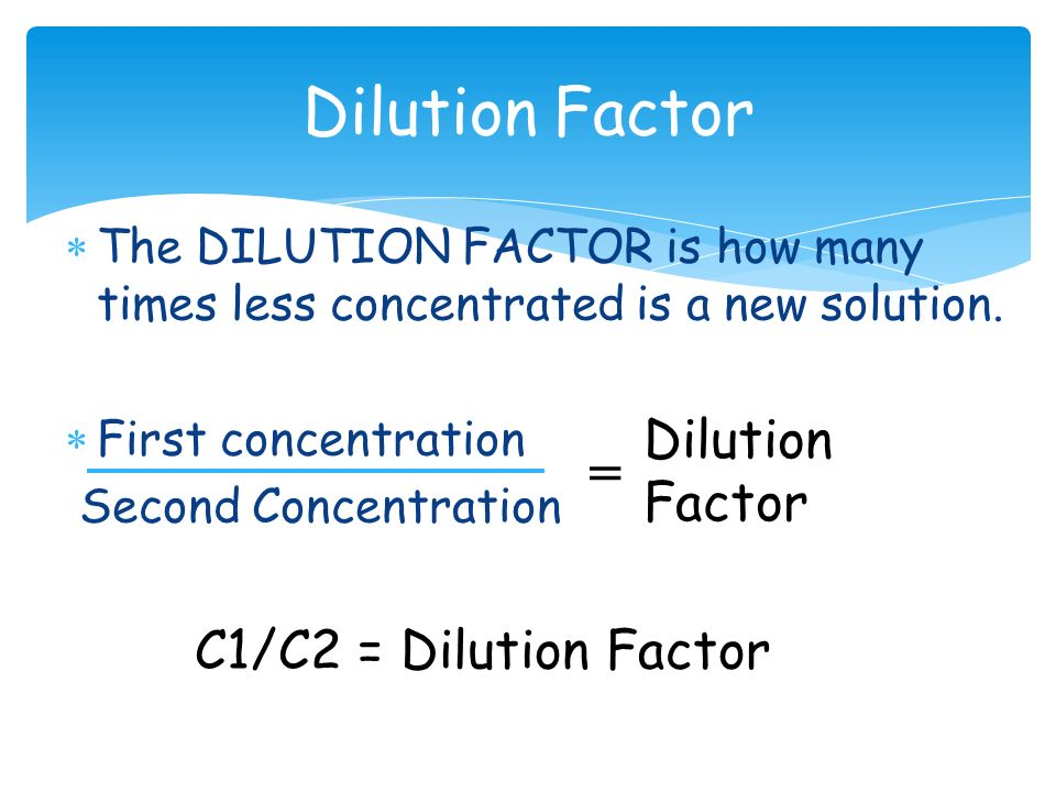 chemistry dilutions Senior chemistry worksheet covering an extensive variety of questions around dilutions of chemical solutions and the formula c1v1 = c2v2 includes several worked examples and all answers.