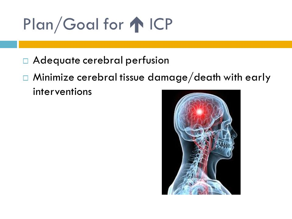 Plan/Goal for  ICP Adequate cerebral perfusion