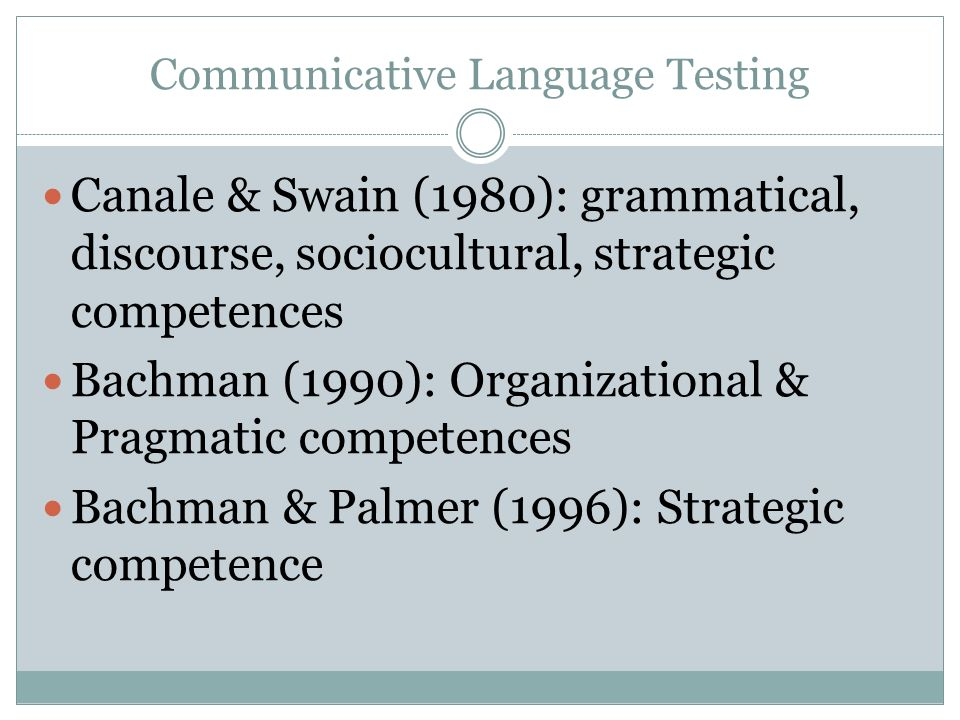 communicative language testing The idea that language test designers should concern themselves with validity-in other words that they should ask themselves whether they [147] are actually testing what they think they are testing, and whether what they.
