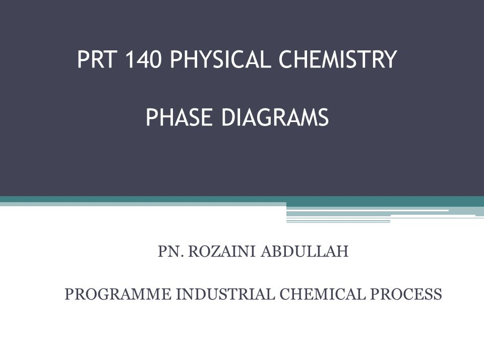 Prt 140 Physical Chemistry Phase Diagrams Ppt Video Online Download