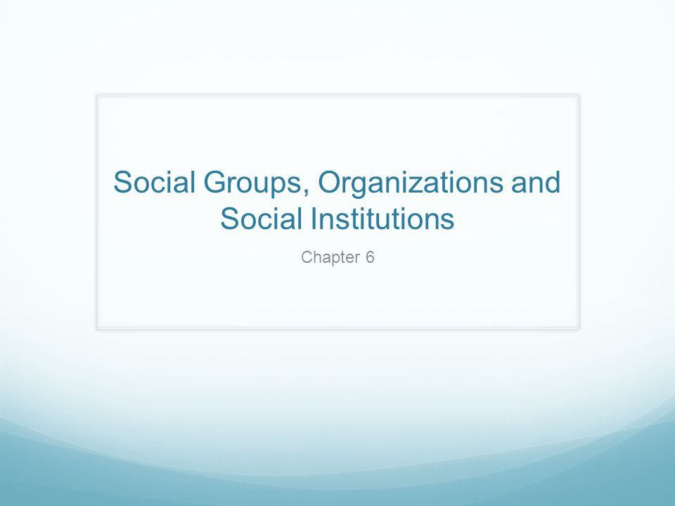 Social Groups, Organizations and Social Institutions