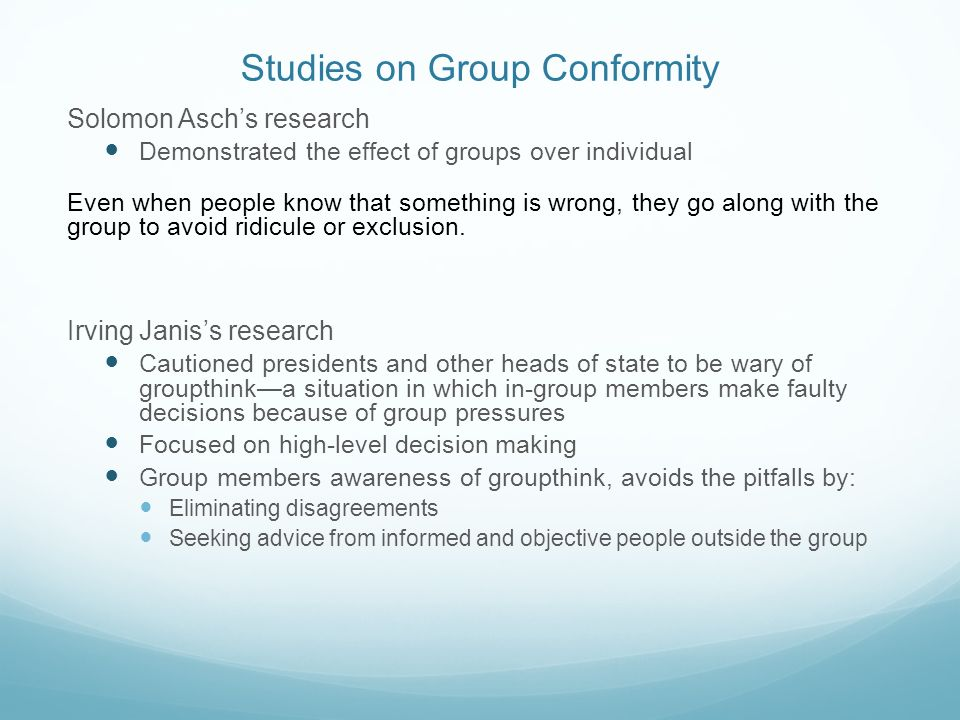 Studies on Group Conformity