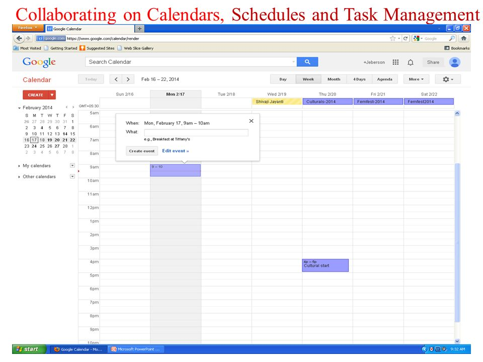 collaborating on calendars schedules and task management ppt