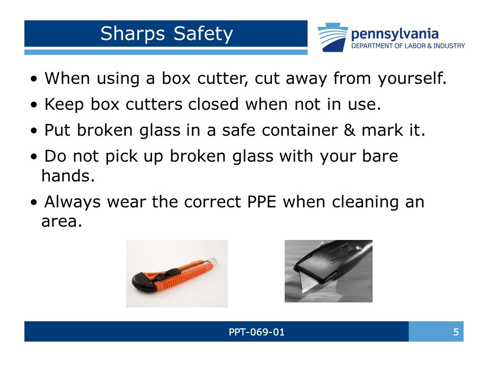 Housekeeping safety bureau of workers compensation ppt for How to cut yourself with glass