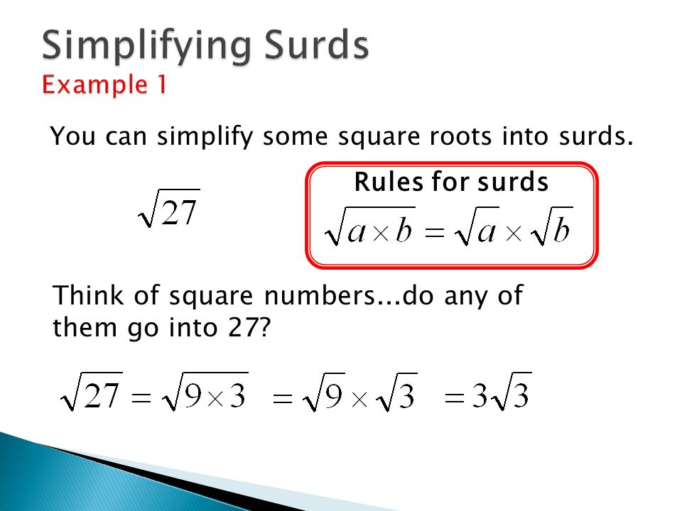 Operations with Surds AS Maths. - ppt download