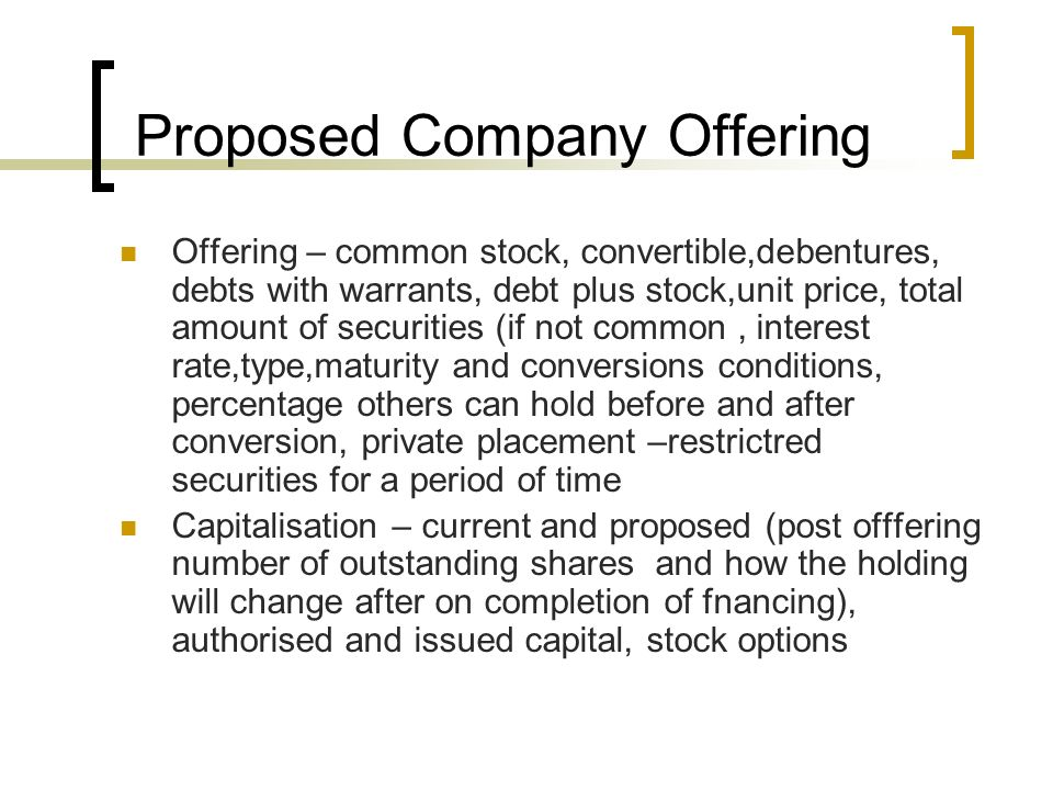 Business plan company offering