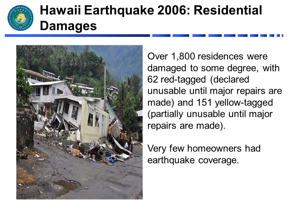 hawaii earthquake 2006 claim study