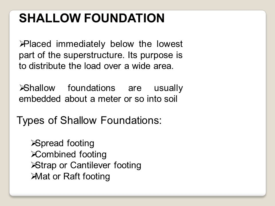 Building construction ppt video online download for Foundations types