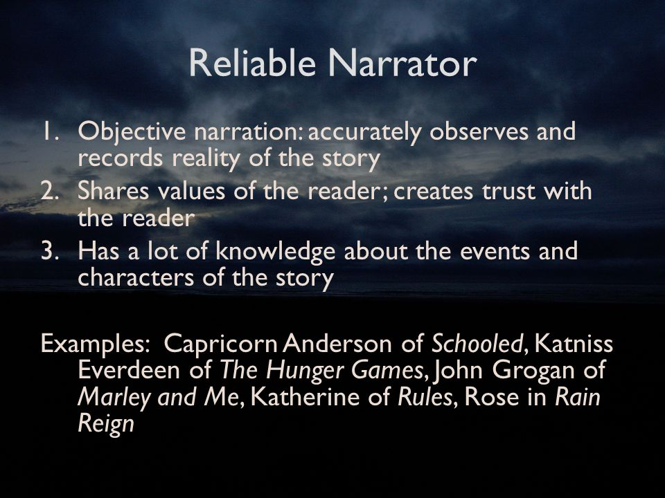 "how reliable is christopher as a narrator Here are 8 reliable ways to make your characters by the time his autistic narrator, christopher 6 thoughts on "" 8 tips to writing unreliable narrators."