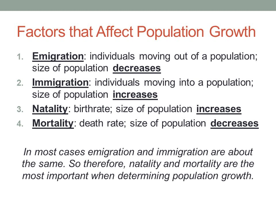 factors affecting population growth Obikeze, daniel, socio-demographic factors affecting population density: the   situation, mcgreevey (1973) introduced the concept of density-growth co.
