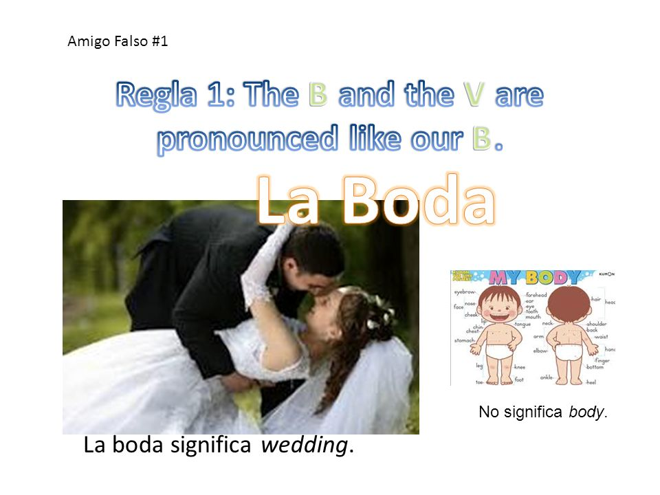 Regla 1: The B and the V are pronounced like our B.