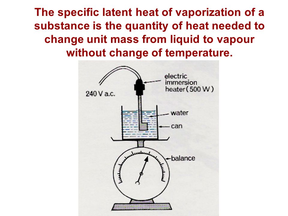 the latent heat of vaporization of Latent heat, energy absorbed or released by a substance during a change in its   once again, additional heat (the latent heat of vaporization) must be added to.