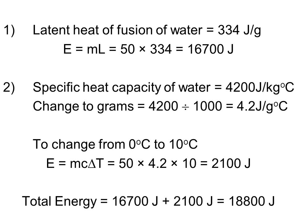 latent heat fusion Latent heat of vaporization most of my students did not completely understand latent heat so i will try to keep it as simple as possible when a kettle is put on a boil the temperature of the water steadily rises until it reaches 100 °c.