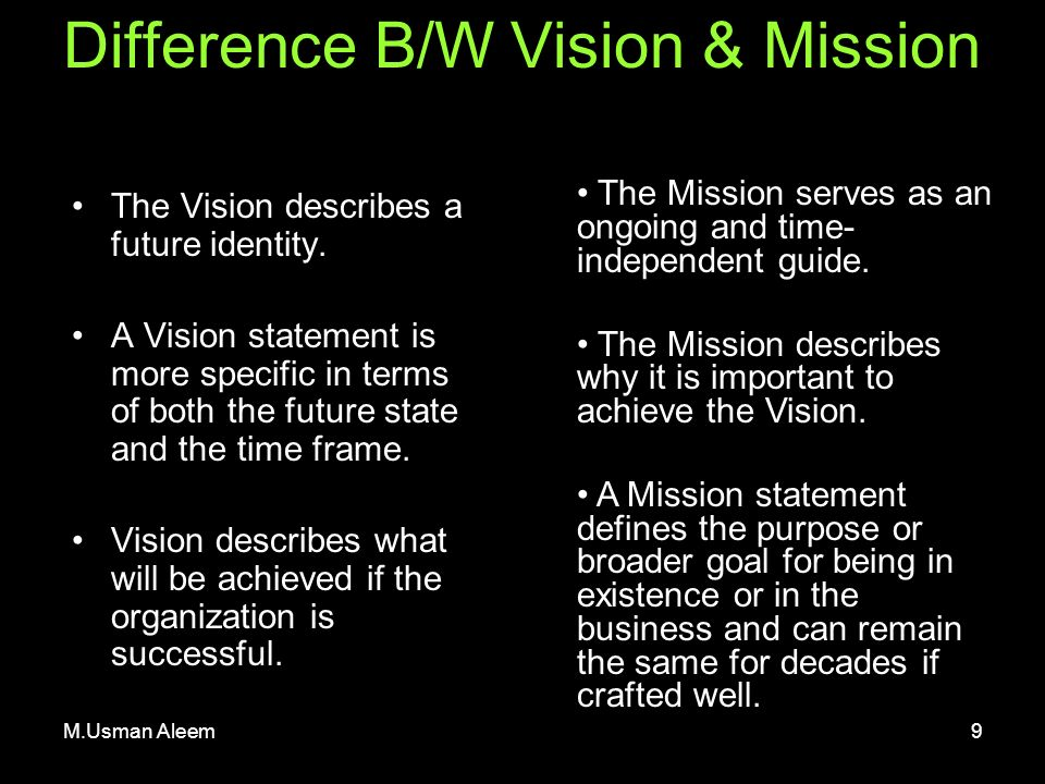 Mission Statement Vs. Executive Summary
