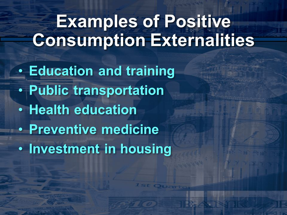 the externalities of public education The presentation shows positive and negative externalities externalities public goods 1 unit 6: market hamburgers 2 cable tv 3 free public education 4 homes 5 street lights 6 highways 20 21.