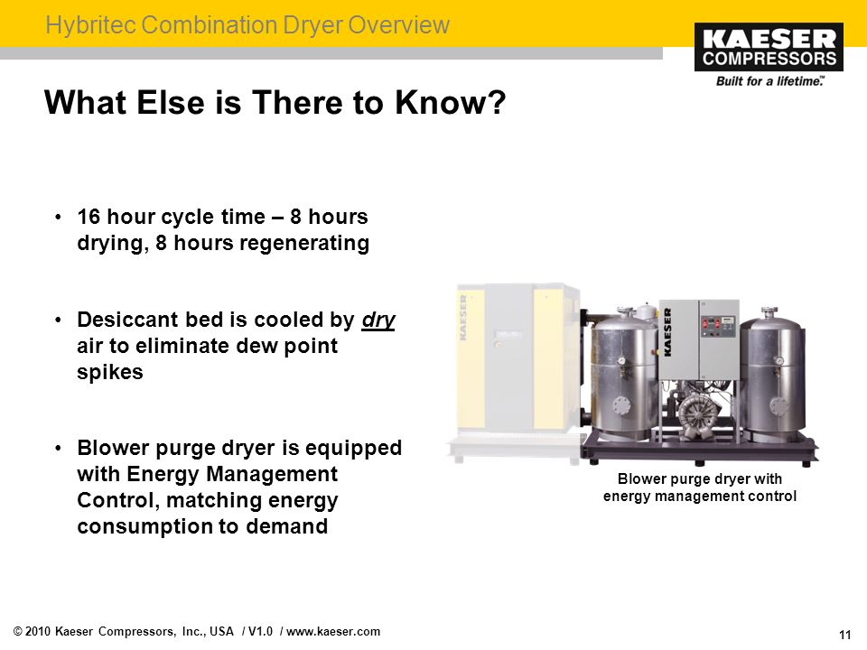 Blower purge dryer with energy management control