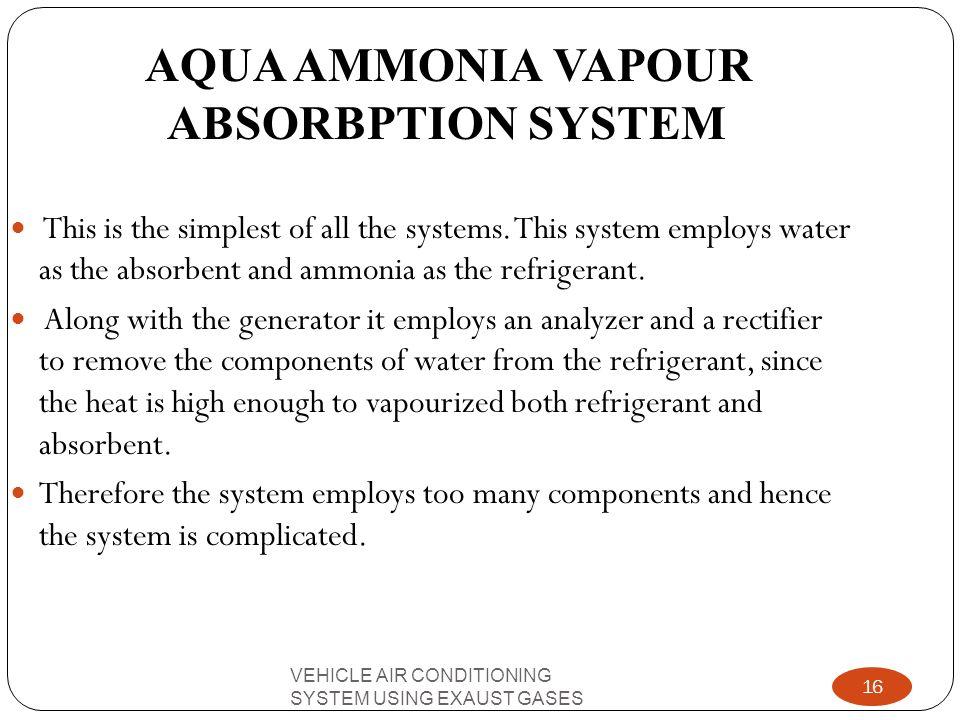 AQUA AMMONIA VAPOUR ABSORBPTION SYSTEM