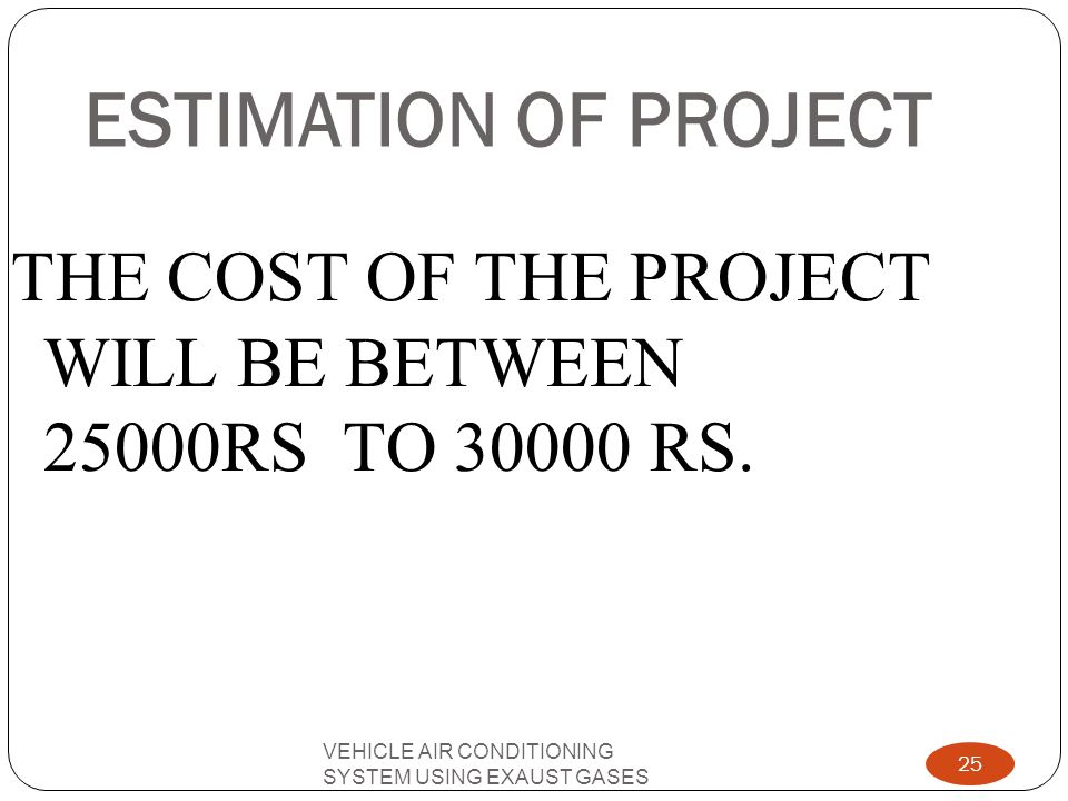 ESTIMATION OF PROJECT THE COST OF THE PROJECT WILL BE BETWEEN 25000RS TO 30000 RS.