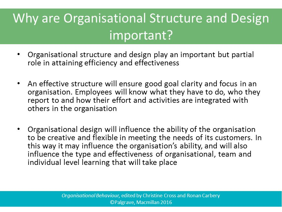 importance of organisational design Functions, the organization, is extremely important it is the function of an  organizational structure determining how successful and efficiently the company  will.