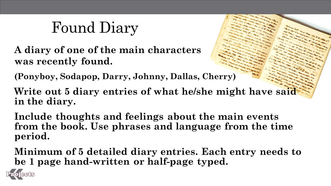 how to write a diary entry for a book character