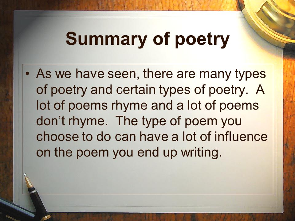 How to Write a Poem Summary