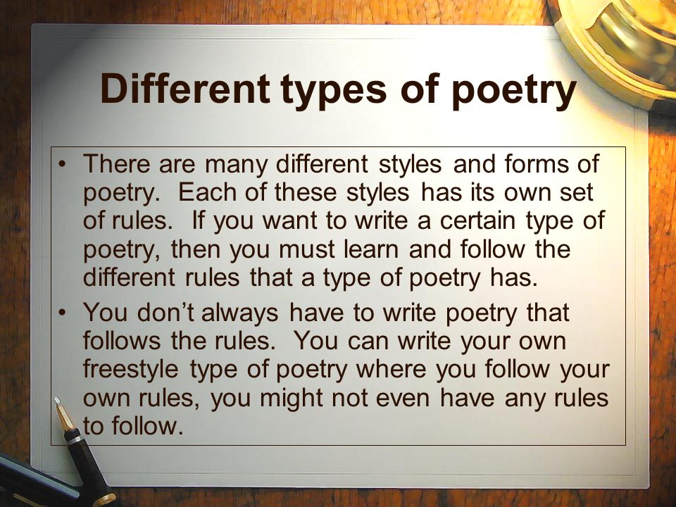 poem writing styles Descriptions and explanations of different types of poetry learn about different  poem forms and what they entail.