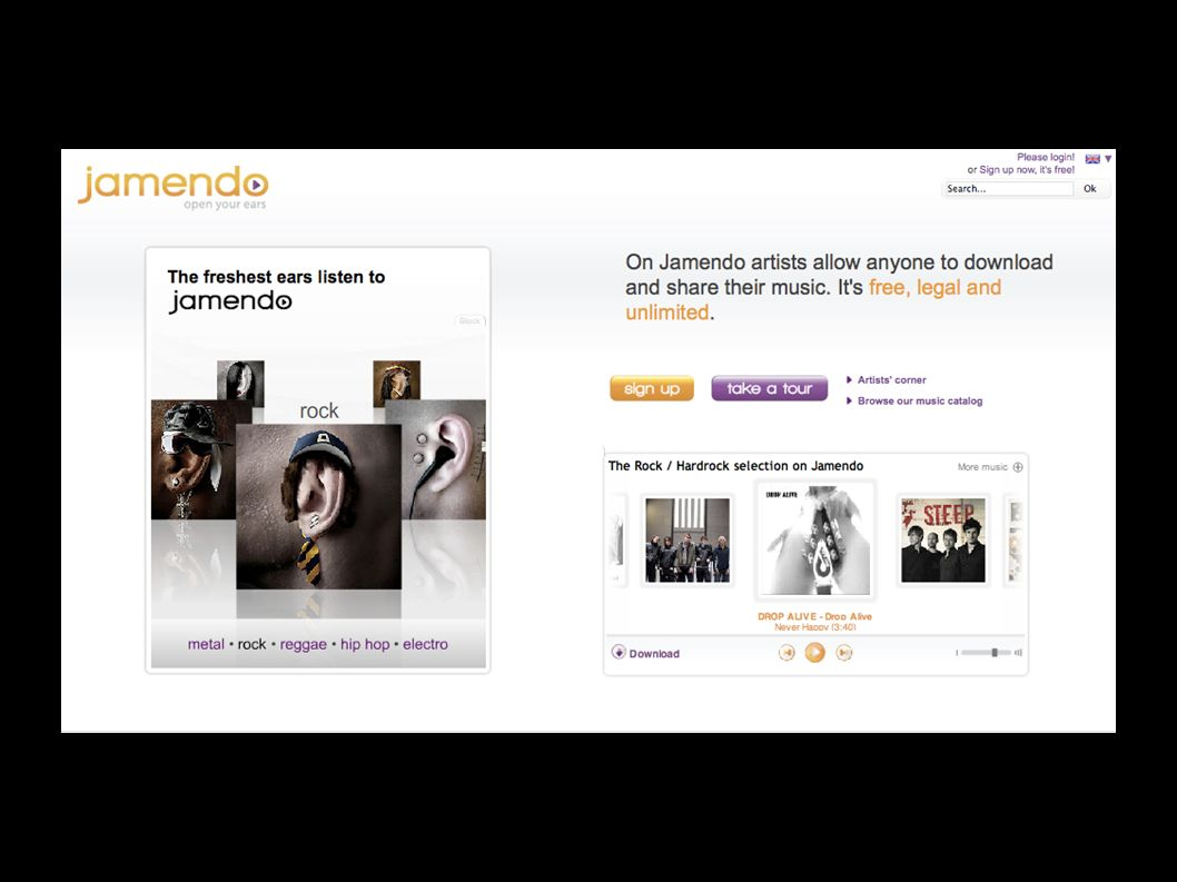 Jamendo is a Luxembourg-based music platform offering artists the ability to promote, publish, and be paid for their music made available for download under Creative Commons and the Free Art licences.